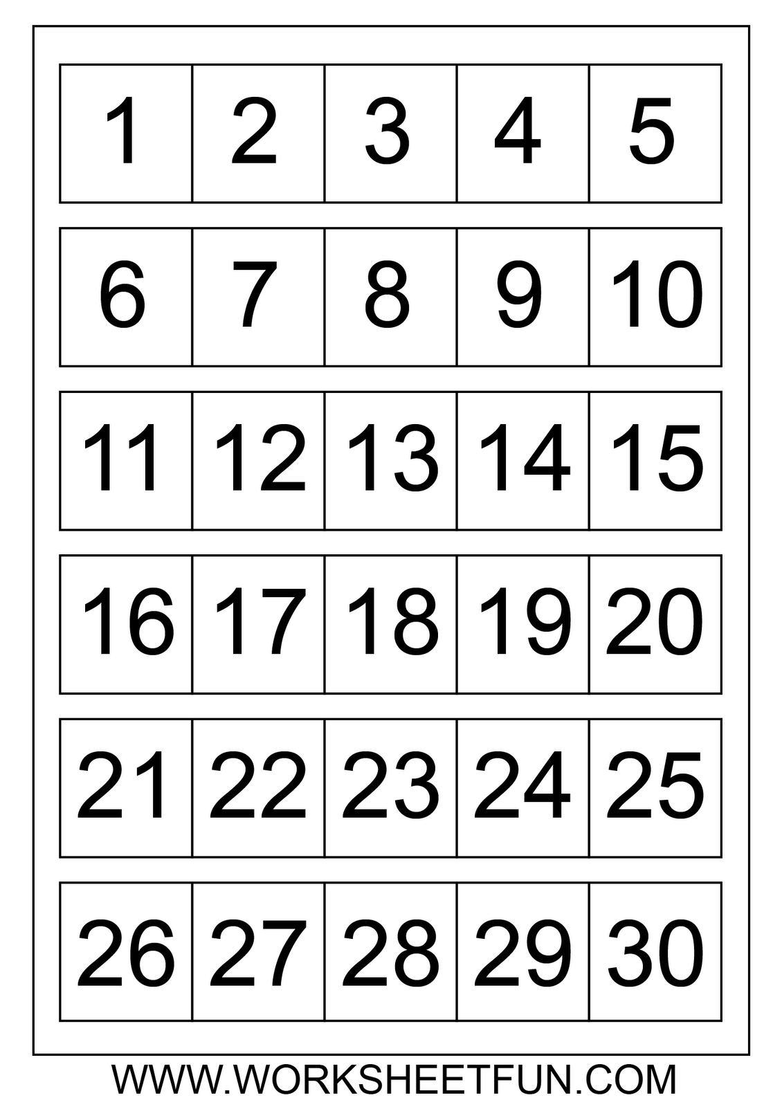 Number Chart 1 30 Number Charts 1 To 30
