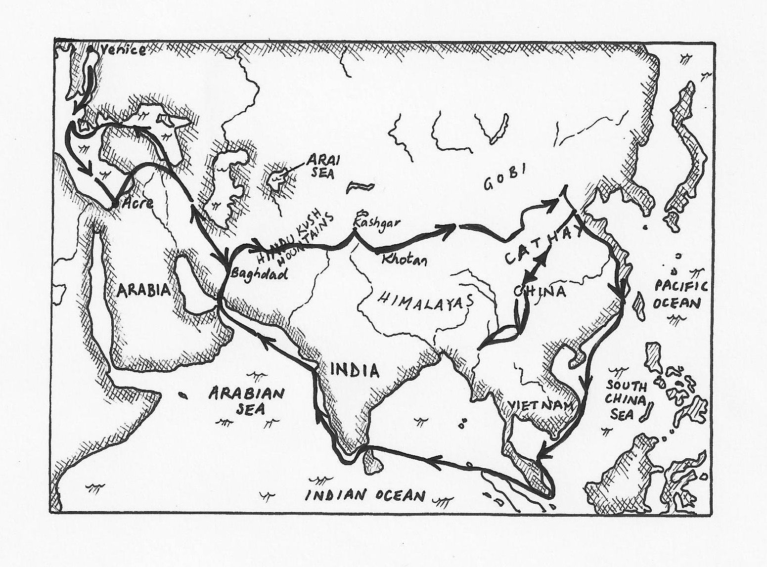 Beautiful Black And White Map Of Marco Polo S Journey We Read The Details Of The Trip Elsewhere
