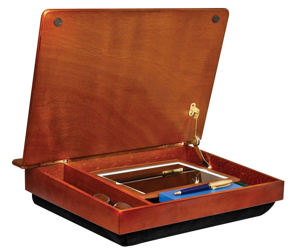 LapGear Wood Lapdesk with Storage Compartment Laptop Tray