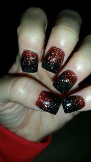 red & black glitter acrylics halloween