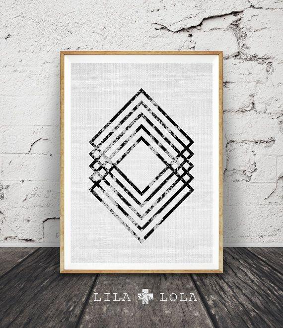 Modern minimal wall art black and white print abstract geometric decor also rh pinterest