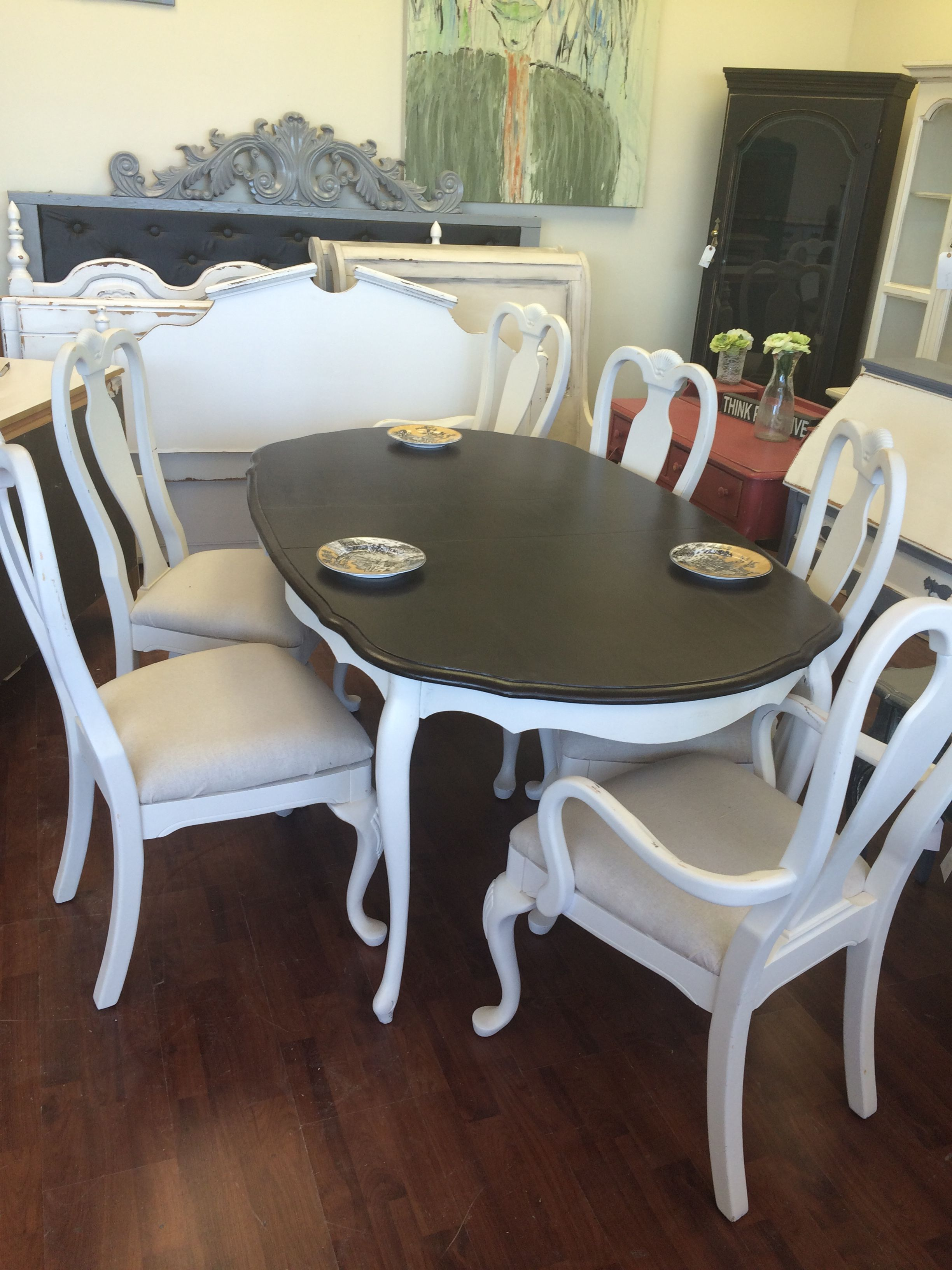 painted queen anne sofa table goose down here is a and six chairs that i