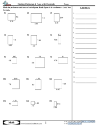 Finding Perimeter & Area with Decimals worksheet ...