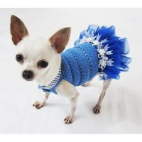Blue Dog Tutu Dress Crochet Bling-bling Handmade Crocheted ...