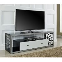 "Beautiful 60"" Mosaic TV Stand, Brushed Silver Frame with ..."