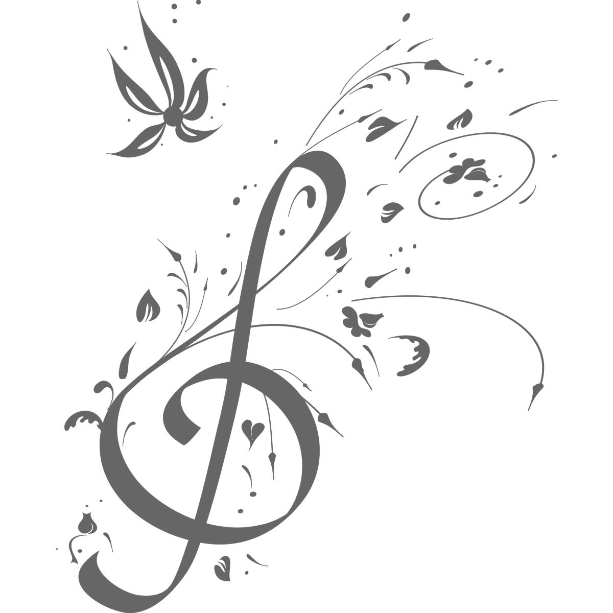 Floral Music Note Music Wall Art Decals Wall Stickers Transfers