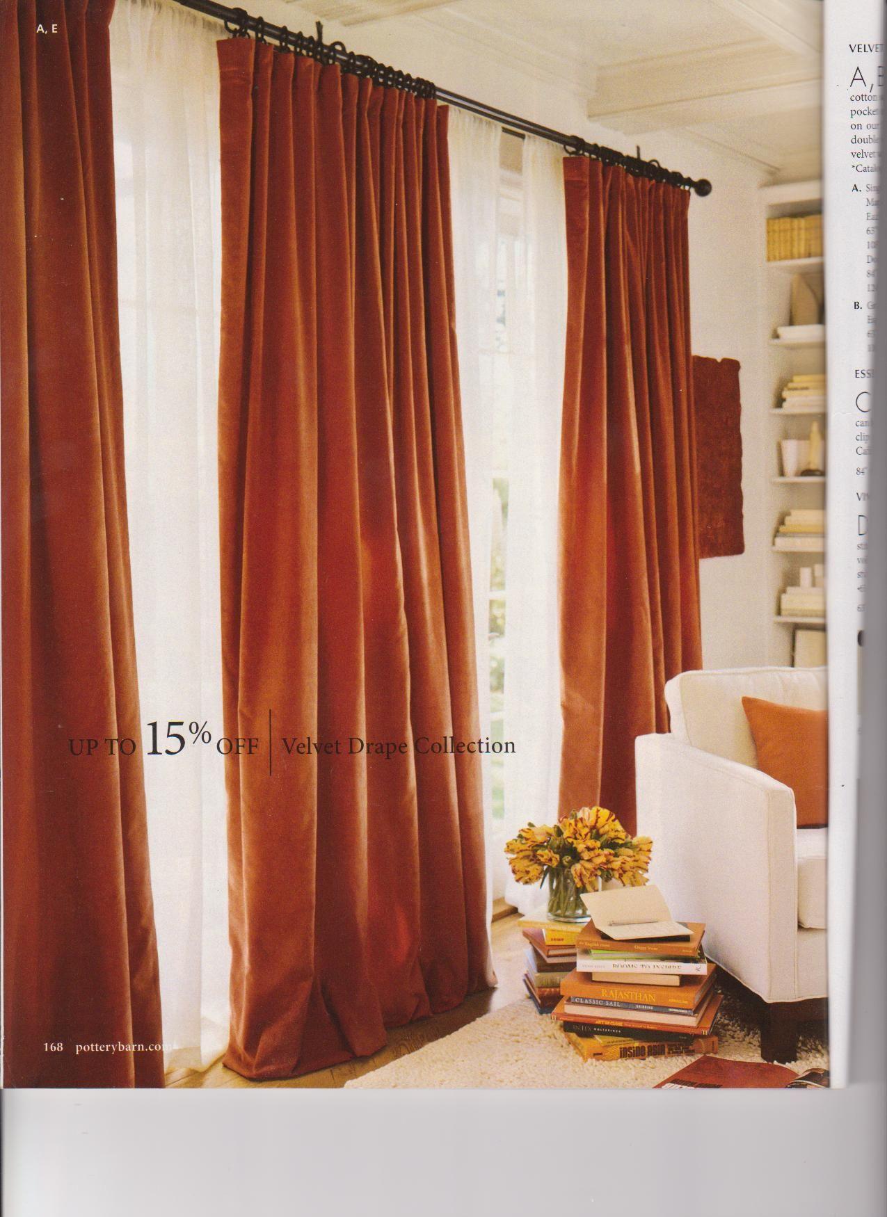 nice rust velvet curtains with white sheers  denfamily
