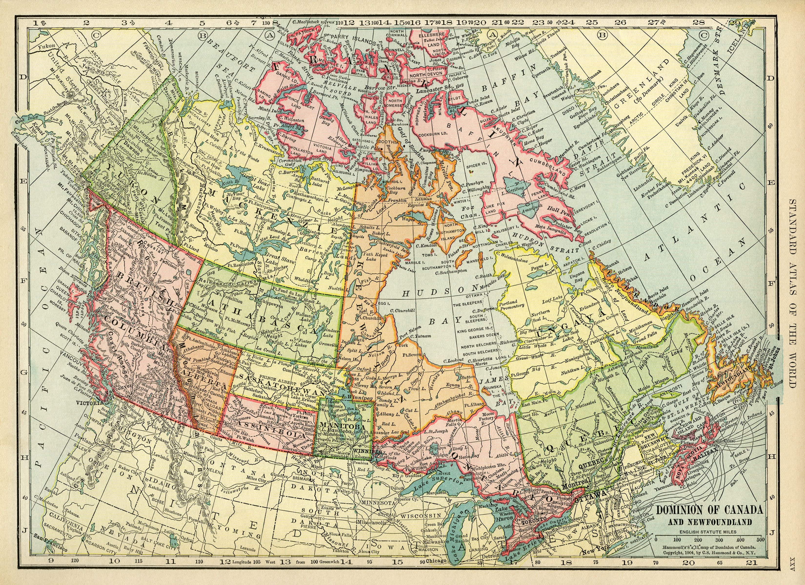 Canadian Map Vintage Map Download Antique Map Canada C
