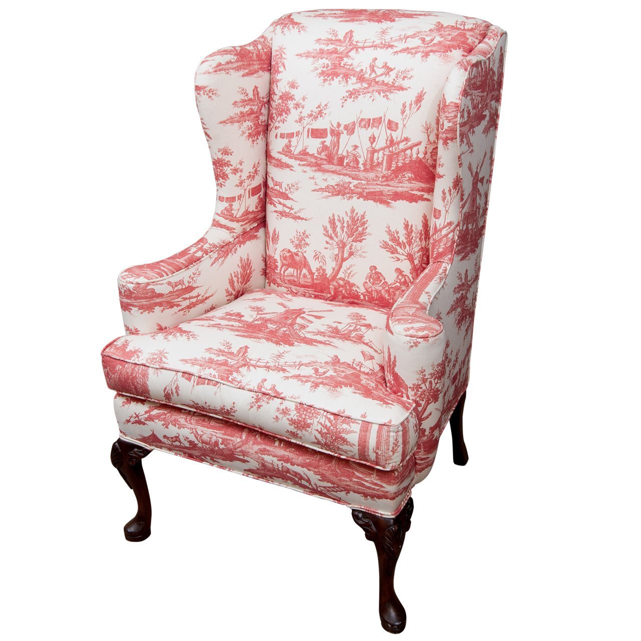 Toile Chair Queen Anne Style Wing Chair Queen Anne Toile And Queens