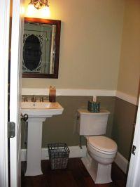 pedestal sink, dark floors, chair rail | Half Bath Ideas ...
