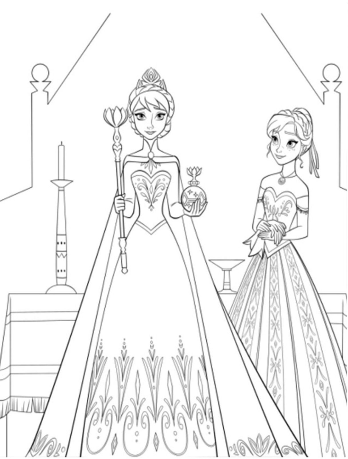 Elsa And Anna Colouring Pages Image