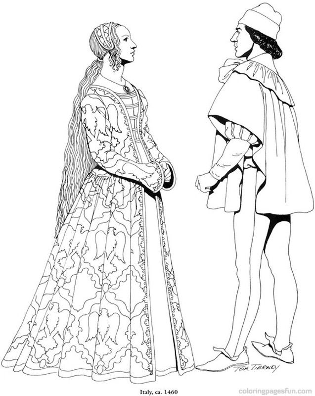 Renaissance Costumes and Clothing Coloring Pages 13