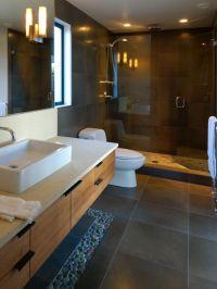 Charcoal Black Pebble Tile Border | Dark bathrooms, Wood ...