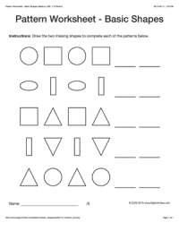 Pattern worksheets for kids - black & white basic shapes ...
