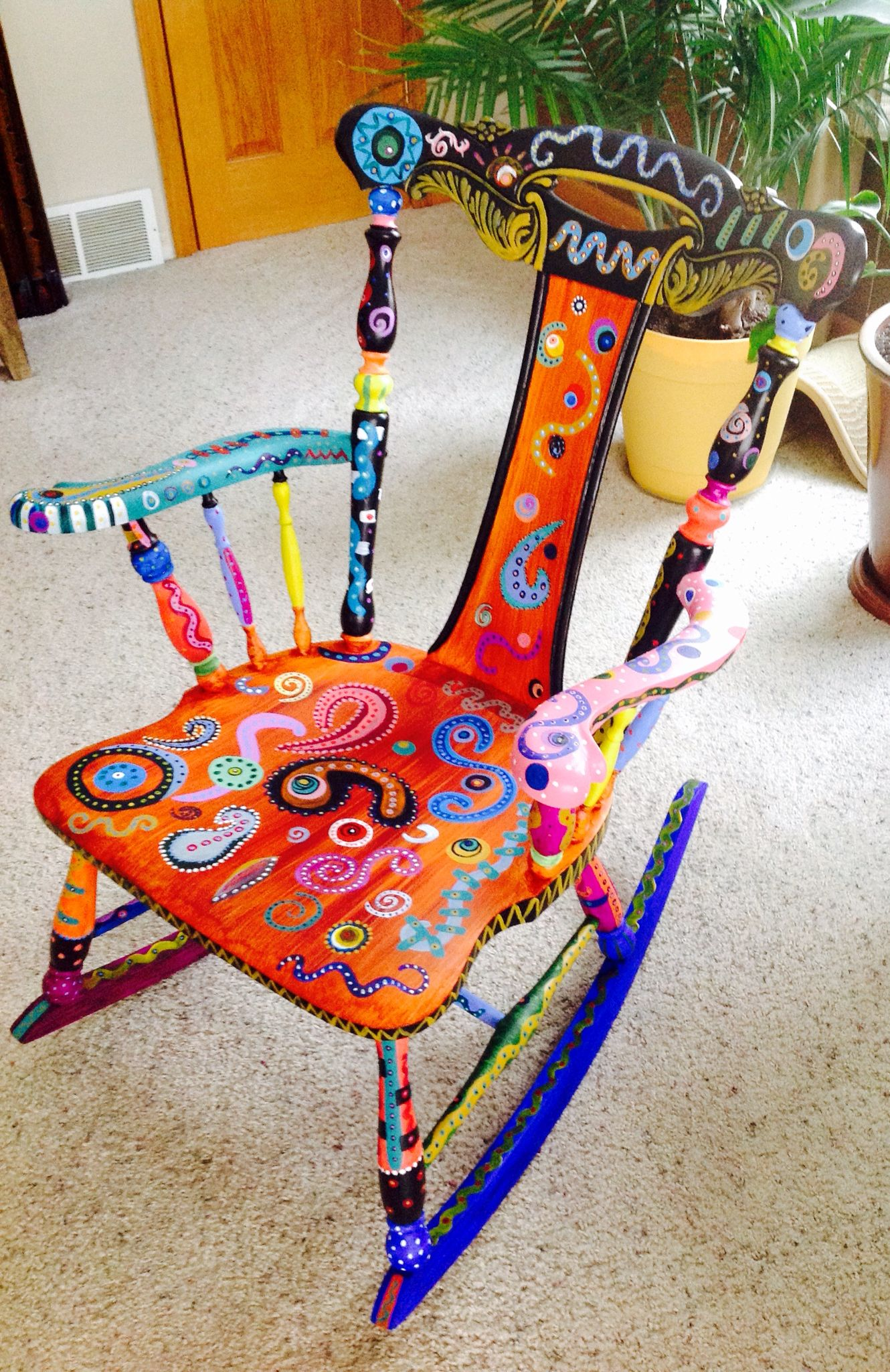 funky wooden chairs nash fishing chair spare parts hand painted whimsical this was a super fun