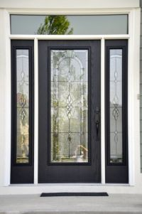 Classic black and white front door with etched glass inset ...