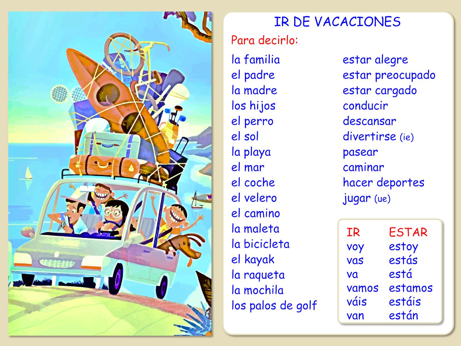 Me Encanta Escribir En Espanol Ir De Vacaciones