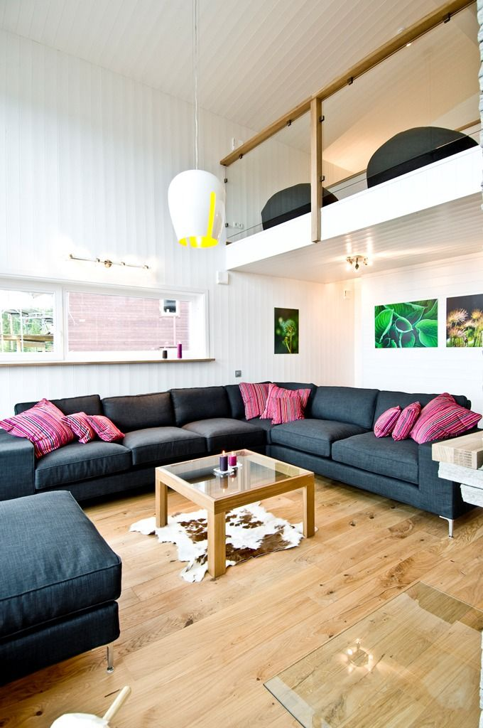 Small House with high ceiling light colors open plan  Prefab Homes  Pinterest  House plans