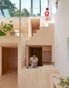 Tomohiro hata sets hillside house in kobe beneath sloping roof houseinterior architectureopen also rh pinterest