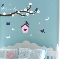 Wall Decals Baby Girl Nursery Branch Birdhouse Butterfly ...