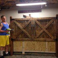Barn door headboard, king size bed | Interior Barn Doors ...