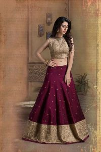Picture of Beige & wine color designer lehenga choli ...