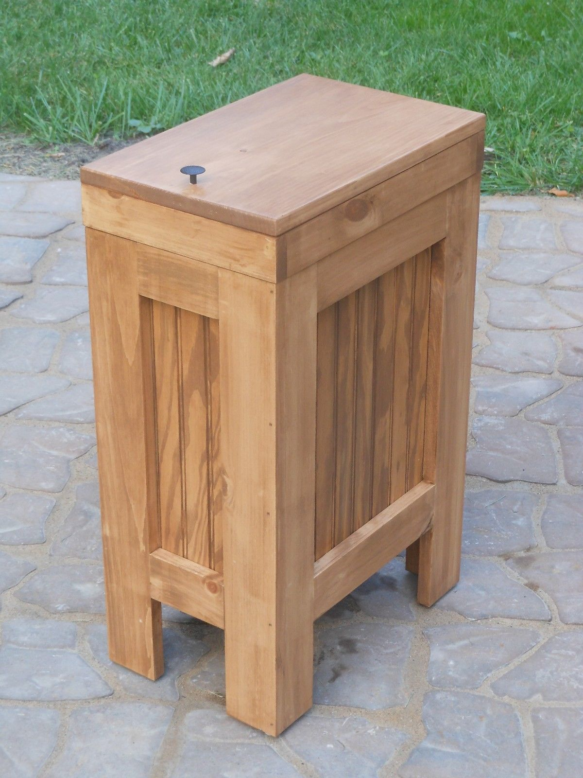 small recycling bins for kitchen replacement doors cabinets wood wooden trash can wastebasket bin
