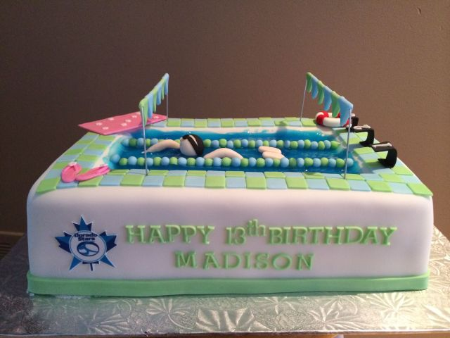 Competitive swimming birthday cake edible bliss cakes