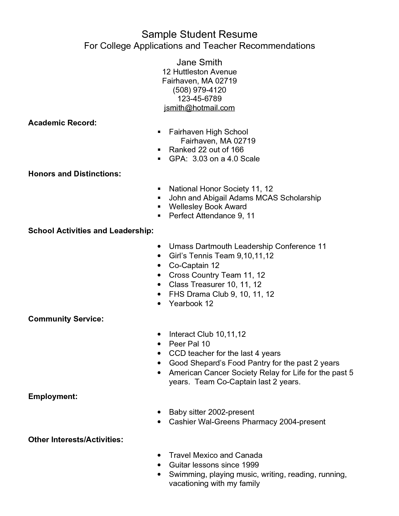 examples of national honor society resumes