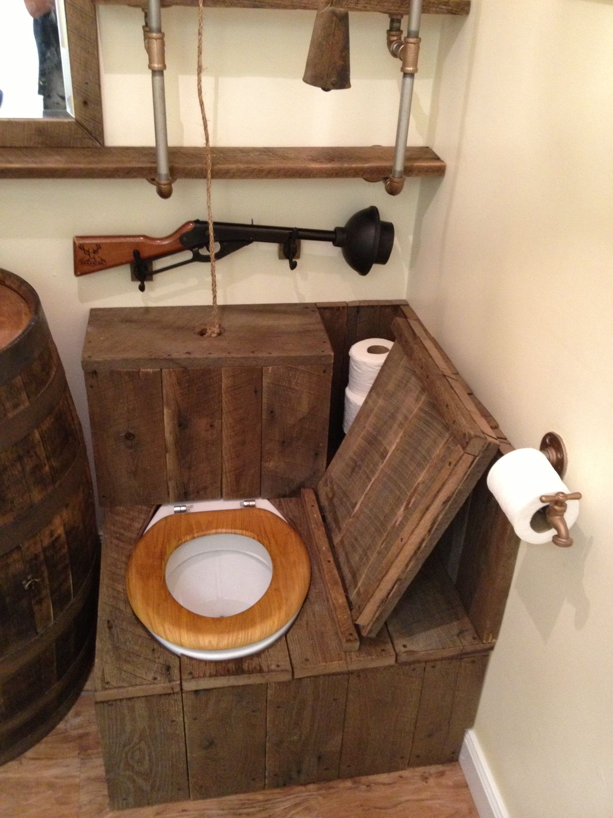 barrel sink rustic toilet opened  The ULTIMATE RedNeck