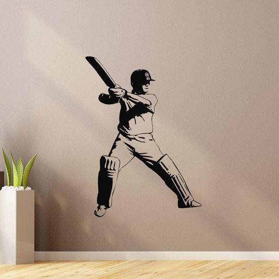 Sports Wall Decal Vinyl Sticker Cricket Bat Ball