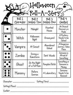 Halloween printables for 4th and 5th grade. Tons of ideas