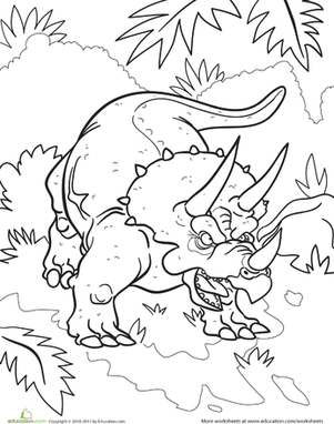 Color the Tough Triceratops