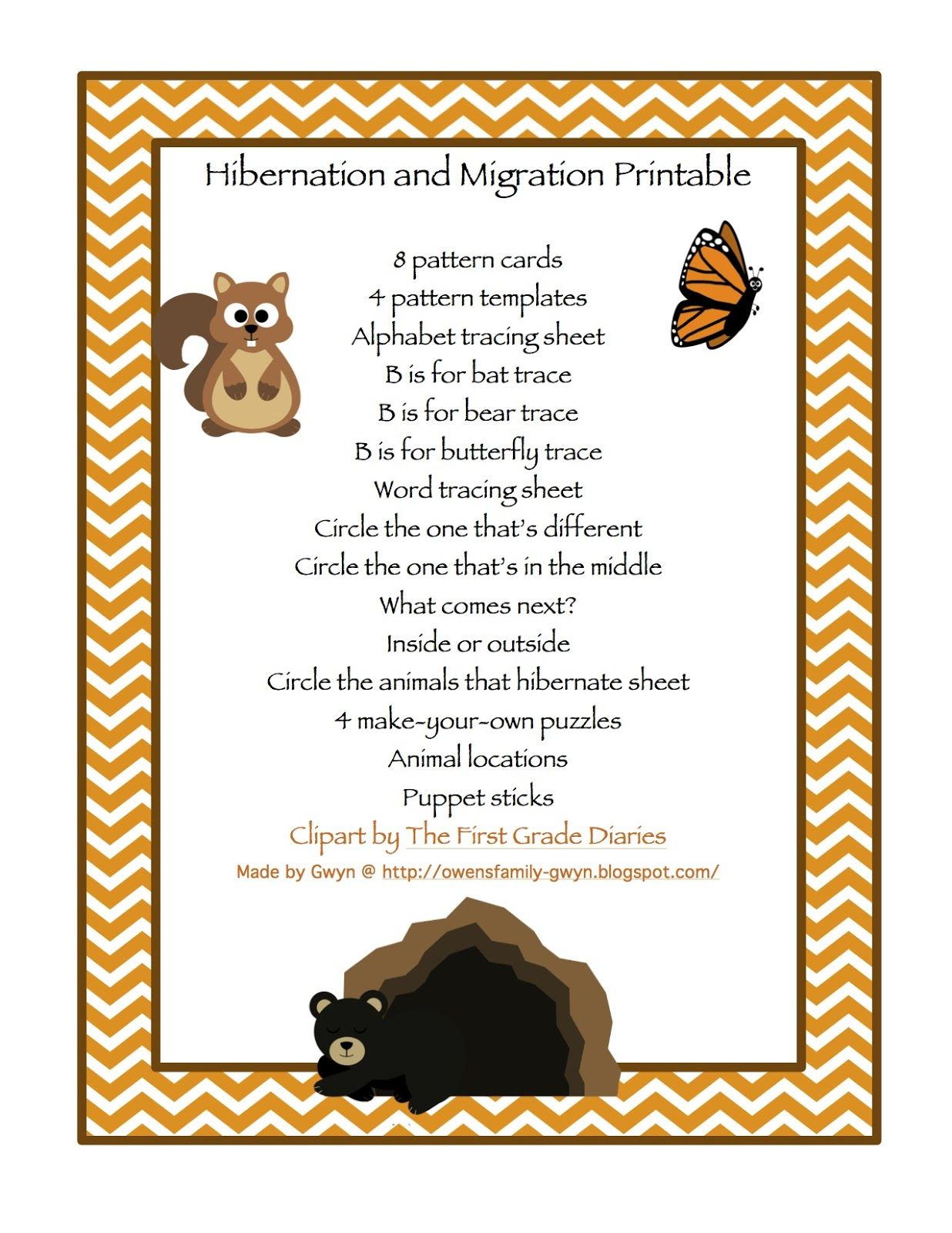 Preschool Printables Hibernation