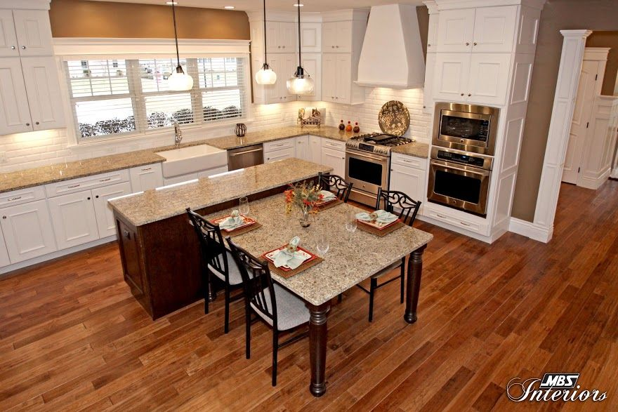 kitchen island with table attached:beauteous kitchen