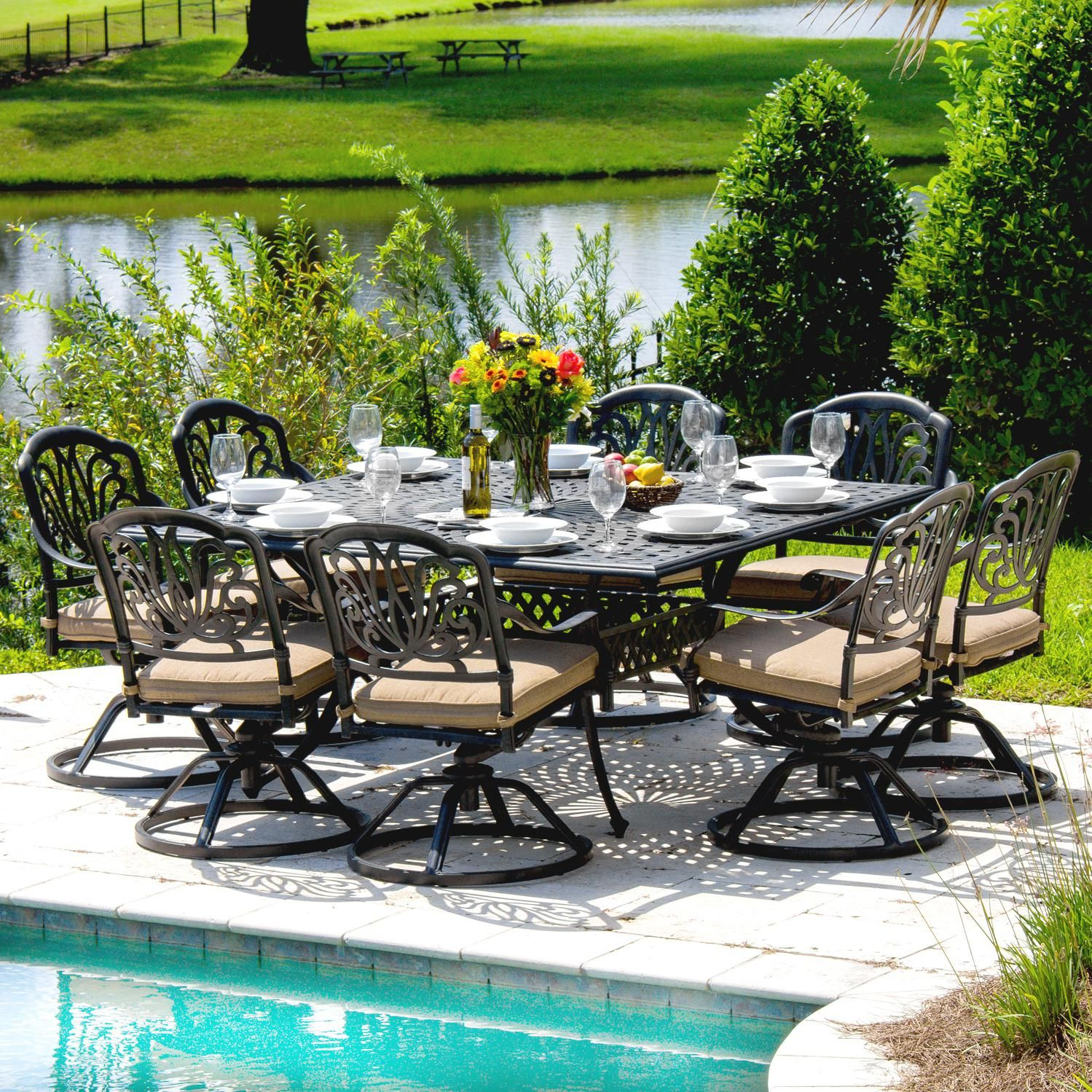 Rosedown 8Person Cast Aluminum Patio Dining Set With Cast