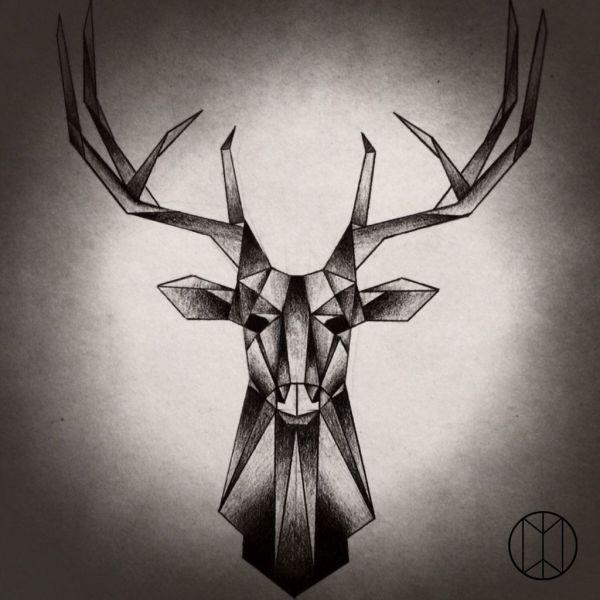 Stag Tattoo Design Geometric
