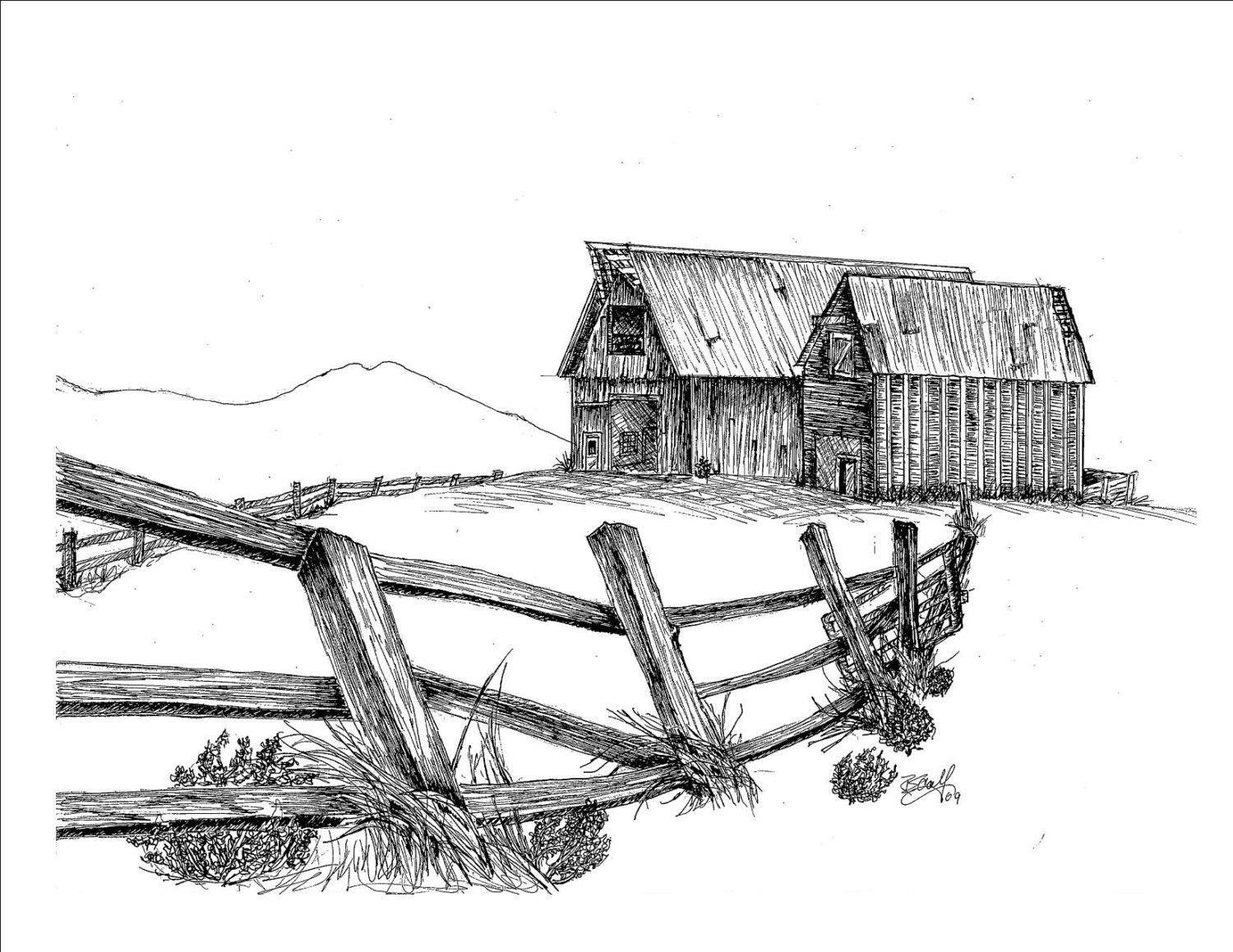 Print Pen And Ink Drawing Of Two Barns The Lonesome