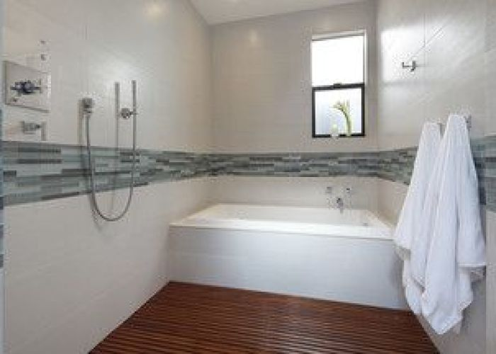 White tile with glass accent also bathrooms pinterest