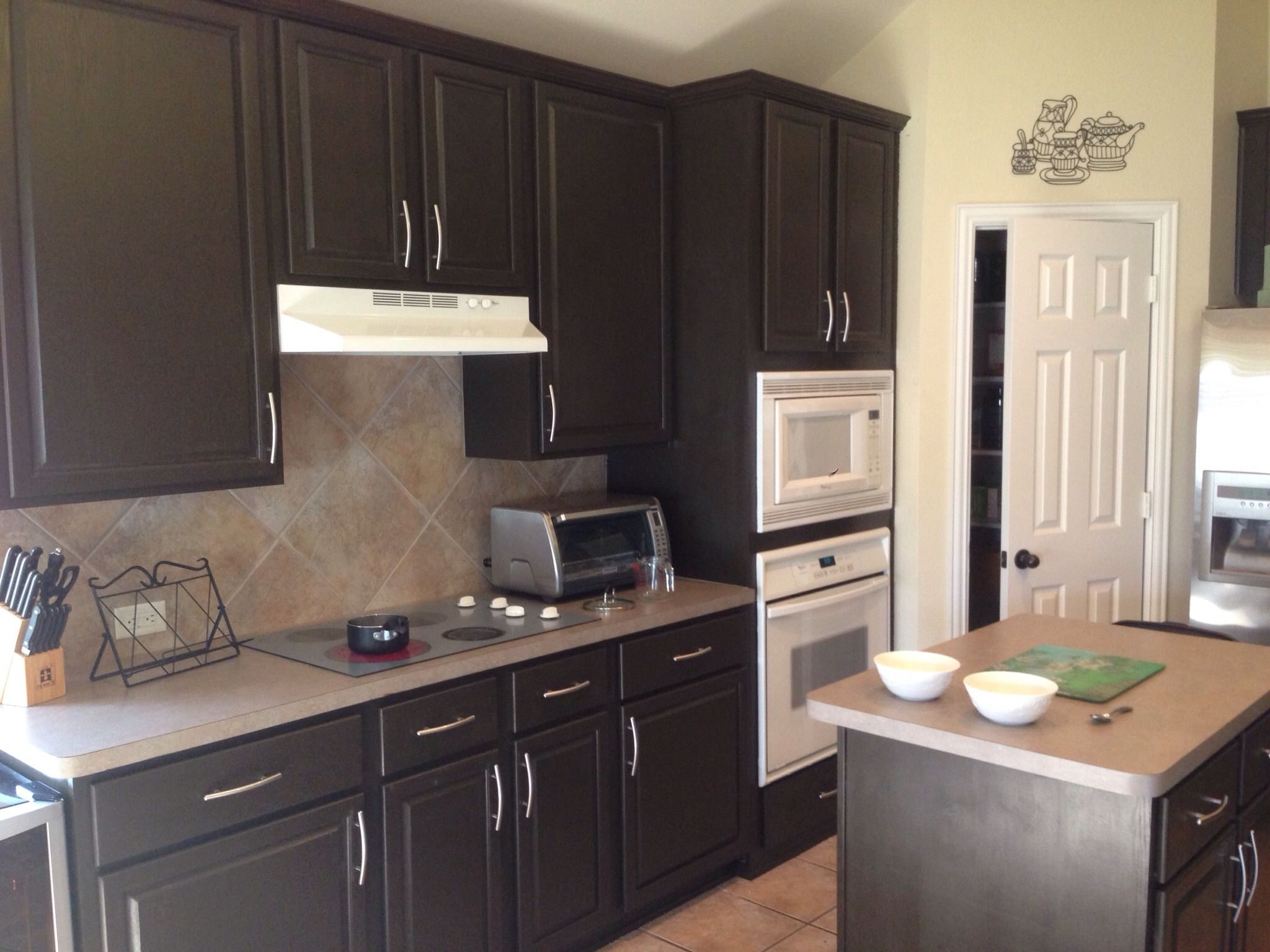 coffee color kitchen cabinets island cabinet base espresso beans by behr we painted our lightly stained oak