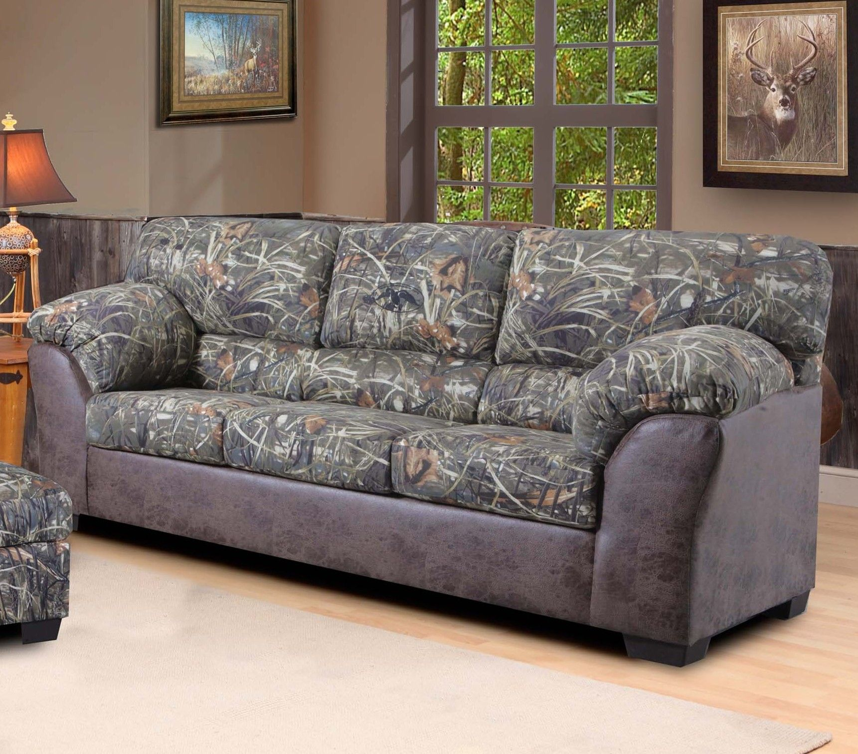 child size leather sofa modern set duck commander in camouflage fabric the
