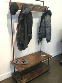 $485.00 Industrial pipe and wood entry coat rack bench ...