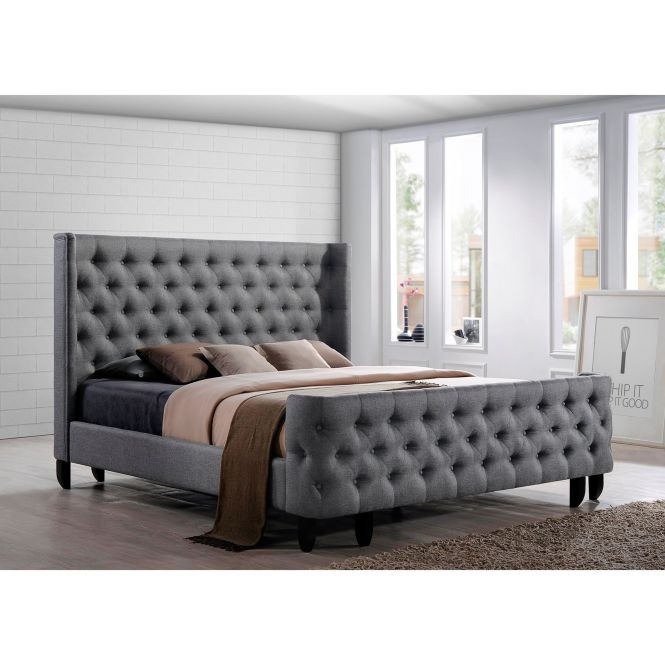 Dream Bed A On Tufted Winged Headboard And Footboard Complete The Beauty Of