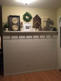 Shiplap entryway with shelf and hooks   Garage Doors ...