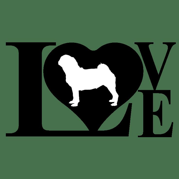 Download Dog Love Pug Decal Sticker | Silhouette | Pinterest | Dog ...