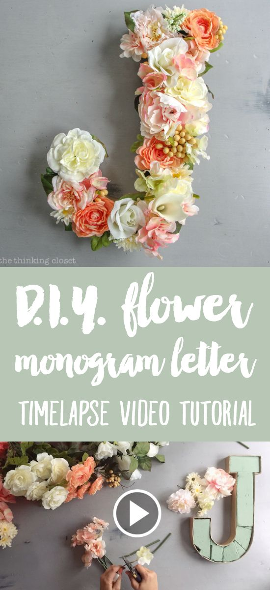 DIY Flower Monogram Letter for a Blooming First Birthday Bash, inspired by spring flowers in pink, blush, and white. Such a fun