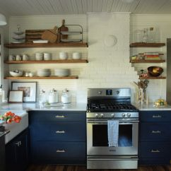 Navy Kitchen Cabinets Country Island With Open Shelving Organize