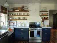 Navy kitchen cabinets with open shelving