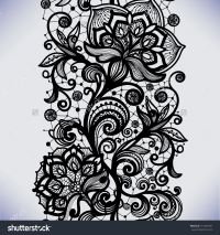 Abstract Seamless Lace Pattern With Flowers. Infinitely