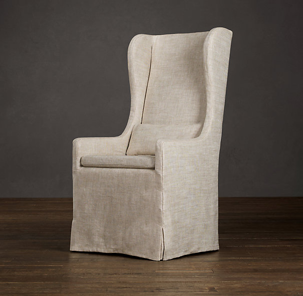 Slipcovered Wingback Dining Fabric Arm  Side Chairs